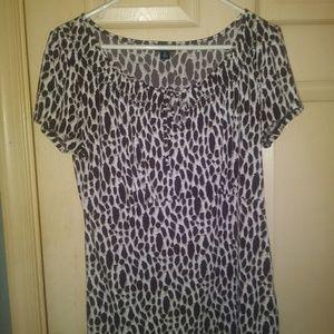 Cute cheetah print shirt sleeve blouse